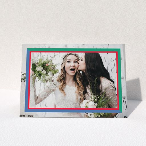 """A photo wedding thank you card design titled """"Berkeley Square Photo Frame"""". It is an A5 card in a landscape orientation. It is a photographic photo wedding thank you card with room for 1 photo. """"Berkeley Square Photo Frame"""" is available as a folded card, with tones of green, blue and red."""