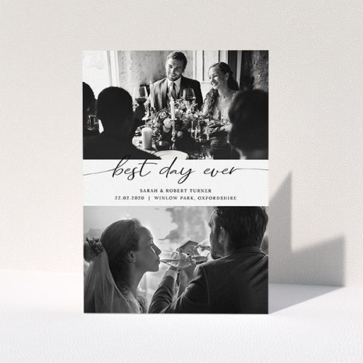 """A photo wedding thank you card design named """"Best Day Ever"""". It is an A5 card in a portrait orientation. It is a photographic photo wedding thank you card with room for 2 photos. """"Best Day Ever"""" is available as a folded card, with mainly white colouring."""
