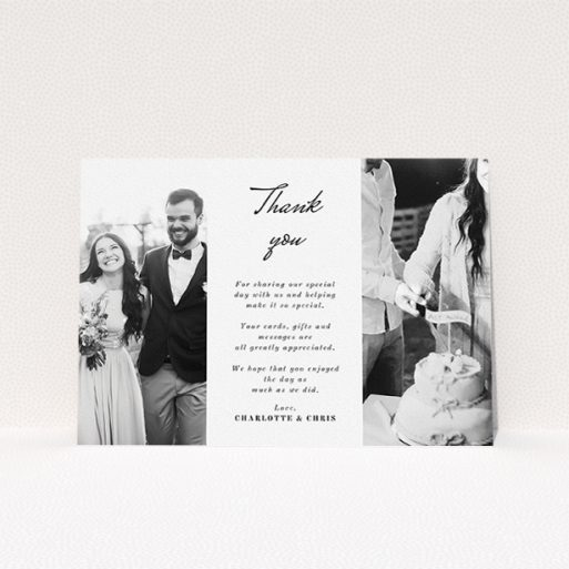 """A photo wedding thank you card called """"Caught in the middle with you"""". It is an A5 card in a landscape orientation. It is a photographic photo wedding thank you card with room for 2 photos. """"Caught in the middle with you"""" is available as a flat card, with mainly white colouring."""