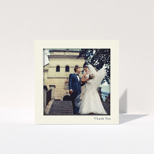 """A photo wedding thank you card design titled """"Deco cream"""". It is a square (148mm x 148mm) card in a square orientation. It is a photographic photo wedding thank you card with room for 1 photo. """"Deco cream"""" is available as a folded card, with mainly cream colouring."""