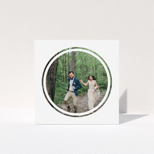 """A photo wedding thank you card named """"Double circle"""". It is a square (148mm x 148mm) card in a square orientation. It is a photographic photo wedding thank you card with room for 1 photo. """"Double circle"""" is available as a folded card, with mainly white colouring."""