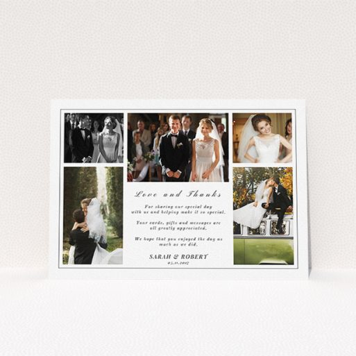 """A photo wedding thank you card design called """"Five photo frame"""". It is an A5 card in a landscape orientation. It is a photographic photo wedding thank you card with room for 3 photos. """"Five photo frame"""" is available as a flat card, with tones of black and white."""