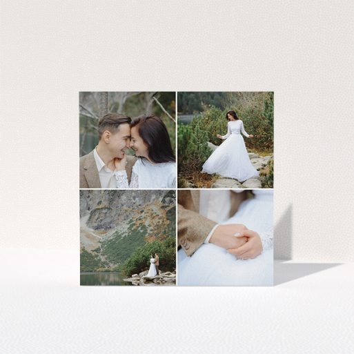 """A photo wedding thank you card design called """"Four Boxes"""". It is a square (148mm x 148mm) card in a square orientation. It is a photographic photo wedding thank you card with room for 3 photos. """"Four Boxes"""" is available as a folded card, with mainly white colouring."""