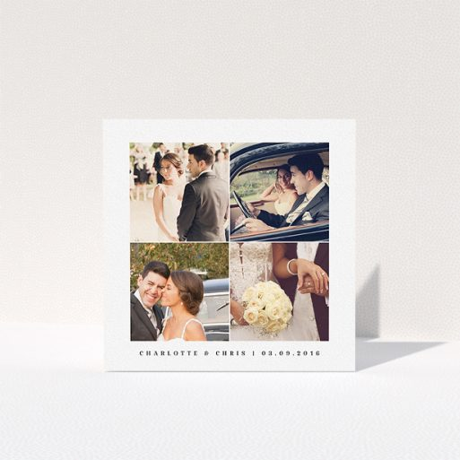 """A photo wedding thank you card named """"Four corners"""". It is a square (148mm x 148mm) card in a square orientation. It is a photographic photo wedding thank you card with room for 1 photo. """"Four corners"""" is available as a folded card, with tones of black and white."""