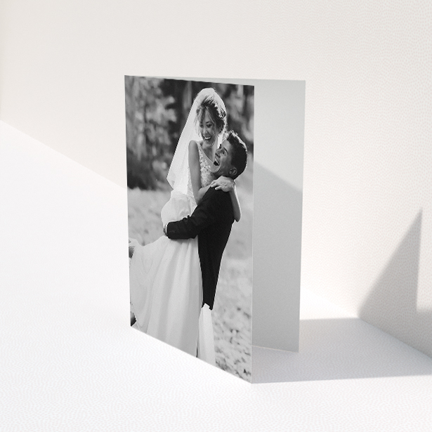"""A photo wedding thank you card named """"Full-page portrait"""". It is an A5 card in a portrait orientation. It is a photographic photo wedding thank you card with room for 1 photo. """"Full-page portrait"""" is available as a folded card."""