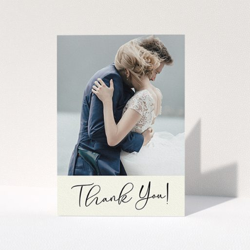 """A photo wedding thank you card template titled """"Gold Stripe Thank You"""". It is an A6 card in a portrait orientation. It is a photographic photo wedding thank you card with room for 1 photo. """"Gold Stripe Thank You"""" is available as a folded card, with mainly cream colouring."""