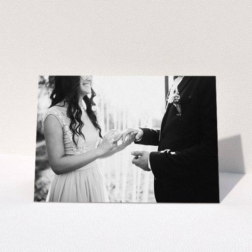 """A photo wedding thank you card design titled """"Just a Landscape Thank You"""". It is an A5 card in a landscape orientation. It is a photographic photo wedding thank you card with room for 1 photo. """"Just a Landscape Thank You"""" is available as a folded card."""