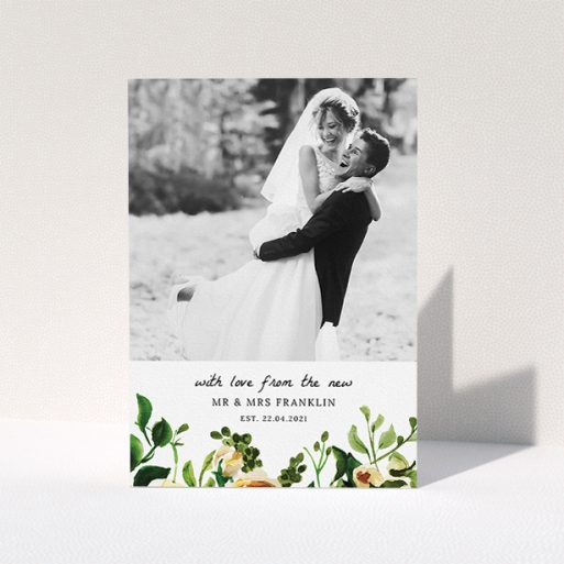 """A photo wedding thank you card named """"Kew Gardens"""". It is an A5 card in a portrait orientation. It is a photographic photo wedding thank you card with room for 1 photo. """"Kew Gardens"""" is available as a folded card, with tones of green, cream and dark green."""
