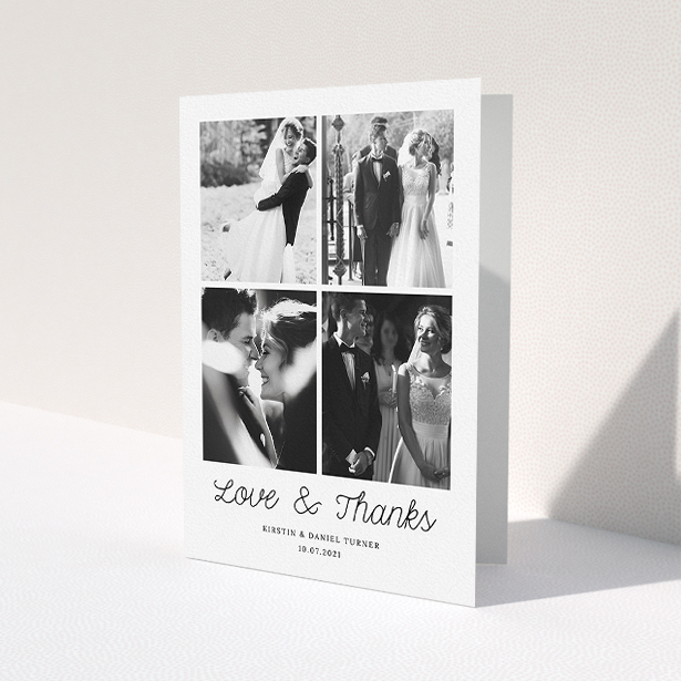 """A photo wedding thank you card called """"Love & Thanks"""". It is an A5 card in a portrait orientation. It is a photographic photo wedding thank you card with room for 4 photos. """"Love & Thanks"""" is available as a folded card, with mainly white colouring."""
