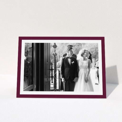 """A photo wedding thank you card design titled """"Maroon Border"""". It is an A5 card in a landscape orientation. It is a photographic photo wedding thank you card with room for 1 photo. """"Maroon Border"""" is available as a folded card, with tones of burgundy and white."""