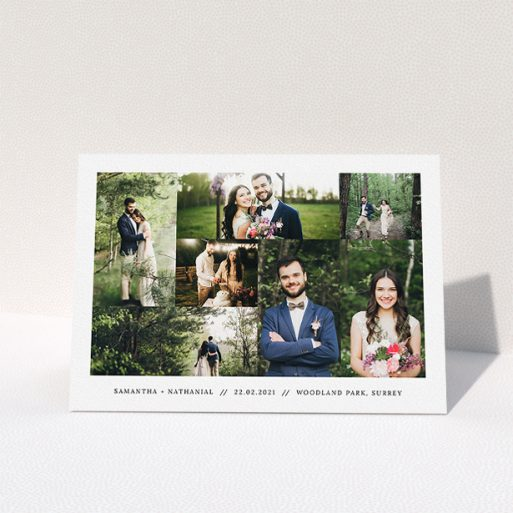 """A photo wedding thank you card named """"No Gap Photo Arrangement"""". It is an A5 card in a landscape orientation. It is a photographic photo wedding thank you card with room for 7 photos. """"No Gap Photo Arrangement"""" is available as a folded card, with mainly white colouring."""