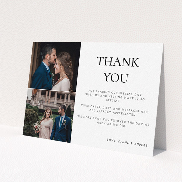 """A photo wedding thank you card template titled """"On the top"""". It is an A5 card in a landscape orientation. It is a photographic photo wedding thank you card with room for 1 photo. """"On the top"""" is available as a flat card, with tones of black and white."""