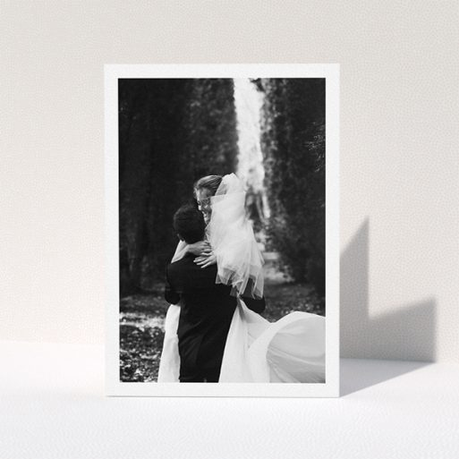 """A photo wedding thank you card design called """"One Photo Thanks"""". It is an A5 card in a portrait orientation. It is a photographic photo wedding thank you card with room for 1 photo. """"One Photo Thanks"""" is available as a folded card."""
