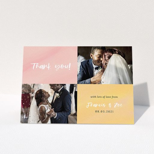 """A photo wedding thank you card named """"Pastel Watercolours"""". It is an A6 card in a landscape orientation. It is a photographic photo wedding thank you card with room for 2 photos. """"Pastel Watercolours"""" is available as a folded card, with tones of pink and orange."""