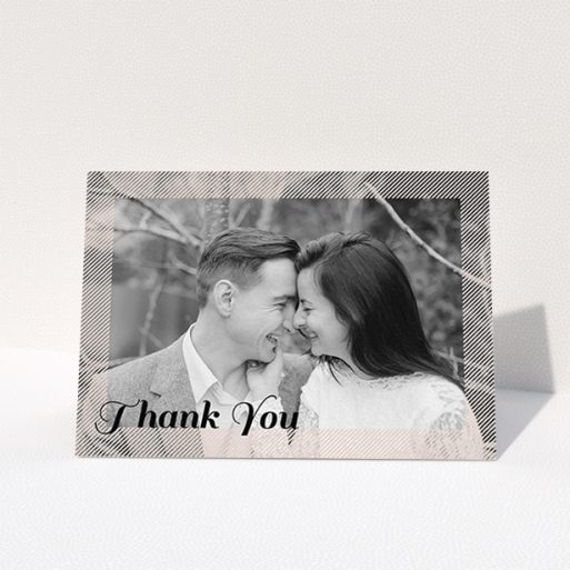 """A photo wedding thank you card design called """"Peach Over-Frame"""". It is an A6 card in a landscape orientation. It is a photographic photo wedding thank you card with room for 1 photo. """"Peach Over-Frame"""" is available as a folded card, with mainly light pink colouring."""