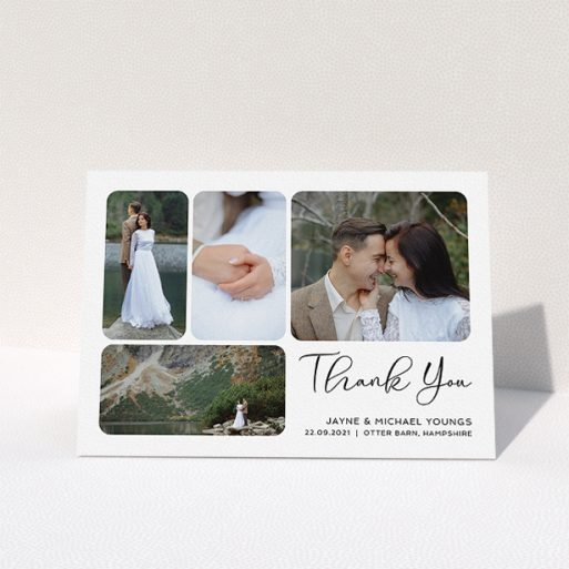 """A photo wedding thank you card named """"Rounded 4-photo Arrangement"""". It is an A5 card in a landscape orientation. It is a photographic photo wedding thank you card with room for 4 photos. """"Rounded 4-photo Arrangement"""" is available as a folded card, with mainly white colouring."""