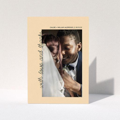 """A photo wedding thank you card design titled """"Rustic Orange Photo Frame"""". It is an A5 card in a portrait orientation. It is a photographic photo wedding thank you card with room for 1 photo. """"Rustic Orange Photo Frame"""" is available as a folded card, with mainly faded orange colouring."""
