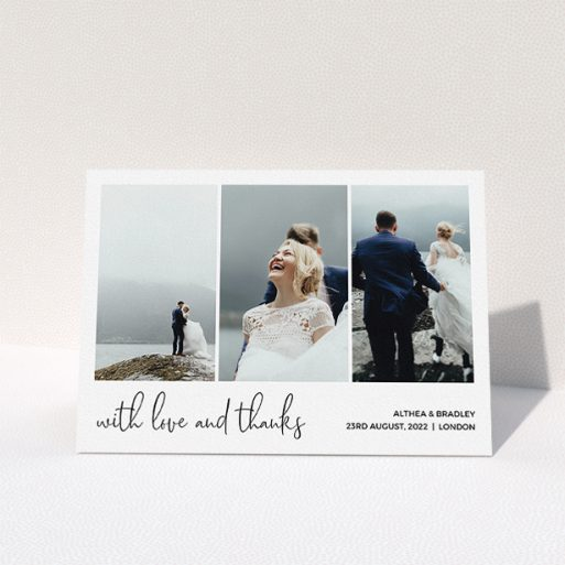 """A photo wedding thank you card design named """"Script Tryptic"""". It is an A5 card in a landscape orientation. It is a photographic photo wedding thank you card with room for 3 photos. """"Script Tryptic"""" is available as a folded card, with mainly white colouring."""