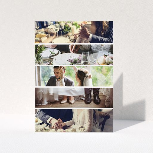 """A photo wedding thank you card design titled """"Split into five"""". It is an A5 card in a portrait orientation. It is a photographic photo wedding thank you card with room for 3 photos. """"Split into five"""" is available as a folded card, with mainly white colouring."""