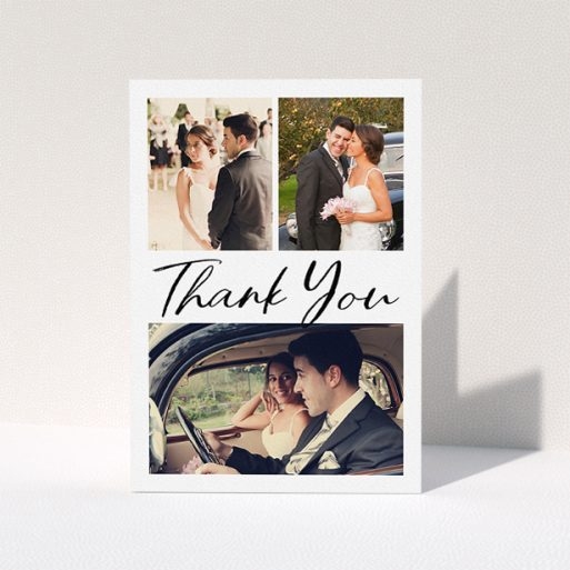 """A photo wedding thank you card template titled """"Thank You On Top"""". It is an A5 card in a portrait orientation. It is a photographic photo wedding thank you card with room for 3 photos. """"Thank You On Top"""" is available as a folded card, with mainly white colouring."""
