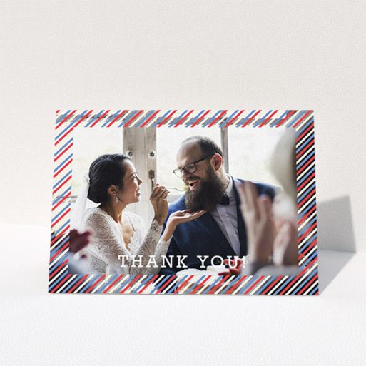 """A photo wedding thank you card design titled """"Tricolour Photo Frame"""". It is an A6 card in a landscape orientation. It is a photographic photo wedding thank you card with room for 1 photo. """"Tricolour Photo Frame"""" is available as a folded card, with mainly white colouring."""