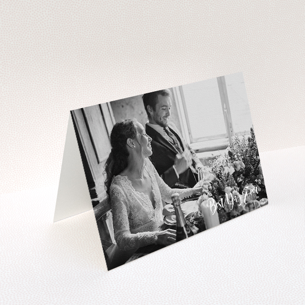 """A photo wedding thank you card design titled """"Truly It Was"""". It is an A5 card in a landscape orientation. It is a photographic photo wedding thank you card with room for 1 photo. """"Truly It Was"""" is available as a folded card, with mainly white colouring."""