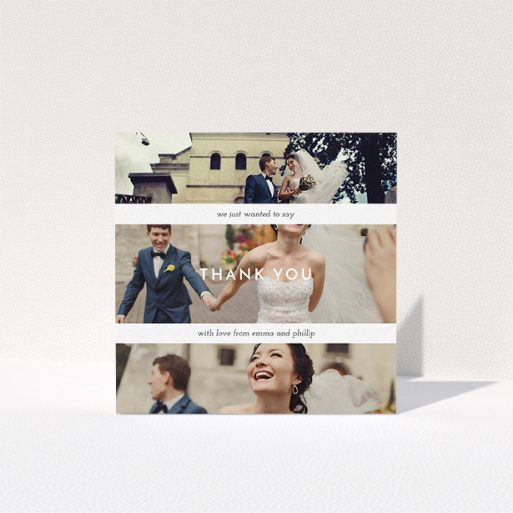 """A photo wedding thank you card template titled """"We just wanted to say"""". It is a square (148mm x 148mm) card in a square orientation. It is a photographic photo wedding thank you card with room for 3 photos. """"We just wanted to say"""" is available as a folded card, with mainly white colouring."""