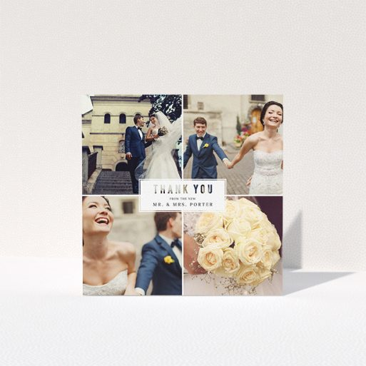 """A photo wedding thank you card design titled """"White Box"""". It is a square (148mm x 148mm) card in a square orientation. It is a photographic photo wedding thank you card with room for 3 photos. """"White Box"""" is available as a folded card, with tones of black and white."""