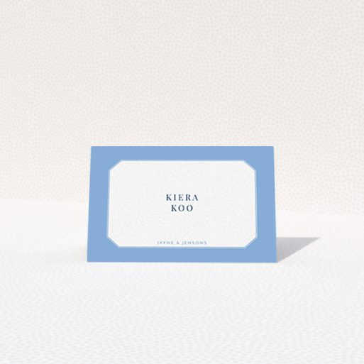 """A place setting card called """"Ceramic Blue Edge"""". It is an 85 x 55mm card in a landscape orientation. """"Ceramic Blue Edge"""" is available as a folded card, with tones of blue and white."""