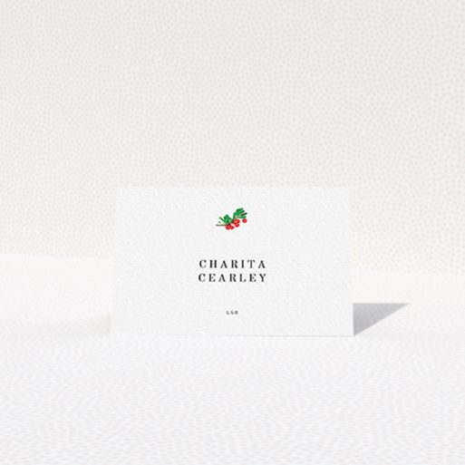 """A place setting card template titled """"Oil Berries"""". It is an 85 x 55mm card in a landscape orientation. """"Oil Berries"""" is available as a folded card, with tones of white and green."""