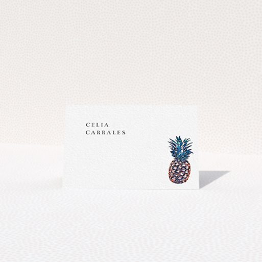 """A place setting card design called """"One Little Pineapple"""". It is an 85 x 55mm card in a landscape orientation. """"One Little Pineapple"""" is available as a folded card, with tones of white and green."""