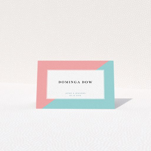 """A place setting card design titled """"Two Halves"""". It is an 85 x 55mm card in a landscape orientation. """"Two Halves"""" is available as a folded card, with tones of blue and pink."""