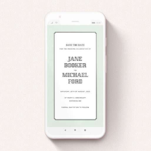 """A save the date for whatsapp named """"Deco mint """". It is a smartphone screen sized card in a portrait orientation. """"Deco mint """" is available as a flat card, with tones of green and white."""