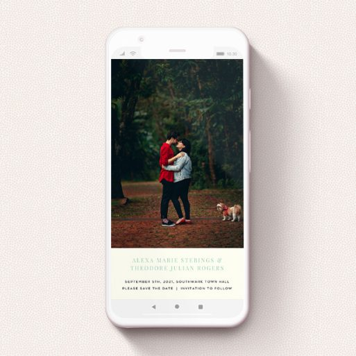 """A save the date for whatsapp called """"Duke of York Square"""". It is a smartphone screen sized card in a portrait orientation. It is a photographic save the date for whatsapp with room for 1 photo. """"Duke of York Square"""" is available as a flat card, with tones of white and green."""