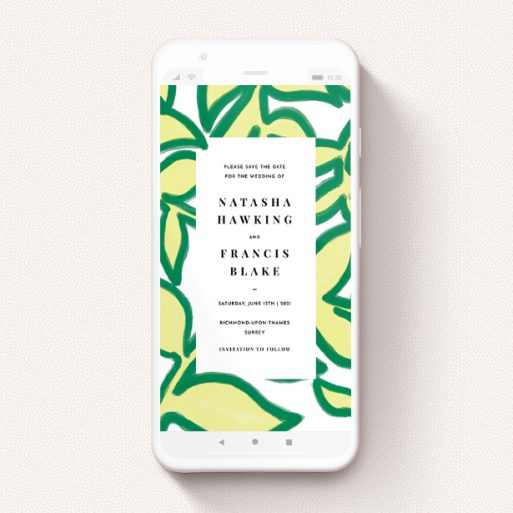 """A save the date for whatsapp design named """"Fresh Vines"""". It is a smartphone screen sized card in a portrait orientation. """"Fresh Vines"""" is available as a flat card, with tones of green and white."""