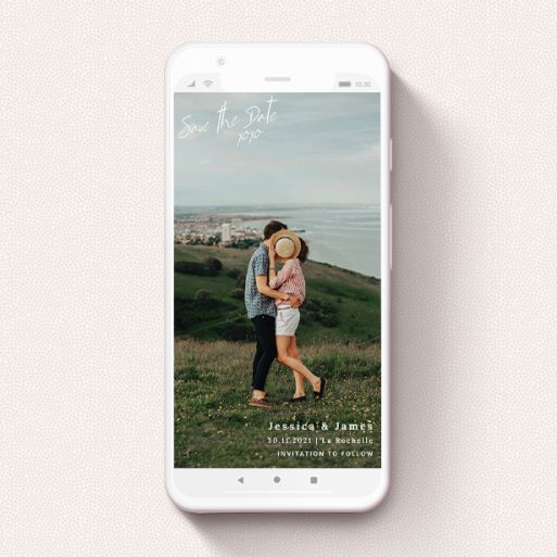 """A save the date for whatsapp called """"Full Page Photo Square"""". It is a smartphone screen sized card in a portrait orientation. It is a photographic save the date for whatsapp with room for 1 photo. """"Full Page Photo Square"""" is available as a flat card, with mainly white colouring."""