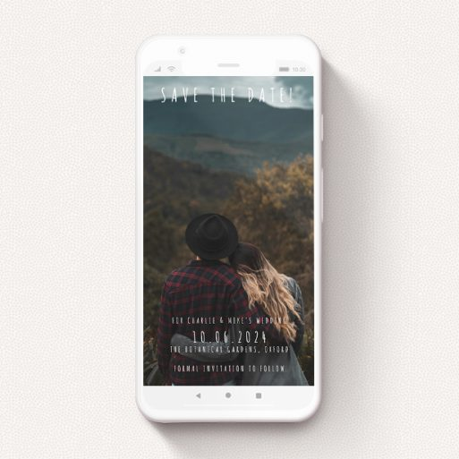 """A save the date for whatsapp template titled """"Informality"""". It is a smartphone screen sized card in a portrait orientation. It is a photographic save the date for whatsapp with room for 1 photo. """"Informality"""" is available as a flat card, with mainly white colouring."""