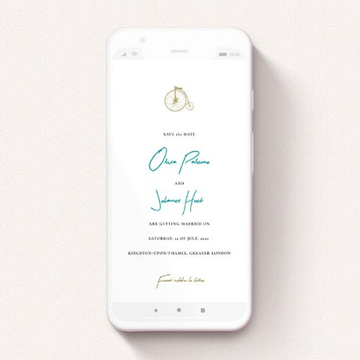 """A save the date for whatsapp design titled """"On your bike new """". It is a smartphone screen sized card in a portrait orientation. """"On your bike new """" is available as a flat card, with tones of white and green."""
