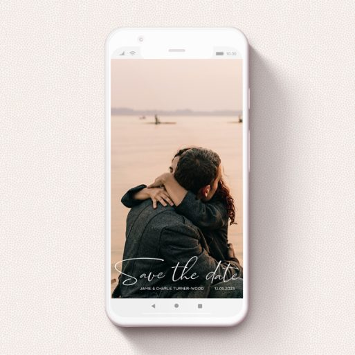 """A save the date for whatsapp design named """"Salamanca"""". It is a smartphone screen sized card in a portrait orientation. It is a photographic save the date for whatsapp with room for 1 photo. """"Salamanca"""" is available as a flat card, with mainly white colouring."""