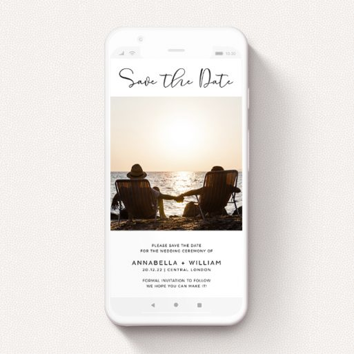 """A save the date for whatsapp template titled """"Simple Setting"""". It is a smartphone screen sized card in a portrait orientation. It is a photographic save the date for whatsapp with room for 1 photo. """"Simple Setting"""" is available as a flat card, with mainly white colouring."""