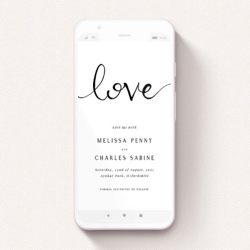 """A save the date for whatsapp design named """"Simply Love"""". It is a smartphone screen sized card in a portrait orientation. """"Simply Love"""" is available as a flat card, with tones of white and black."""