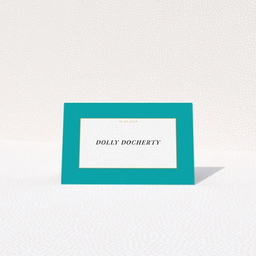 """A table place card named """"Big Blue"""". It is an 85 x 55mm card in a landscape orientation. """"Big Blue"""" is available as a folded card, with tones of blue and white."""