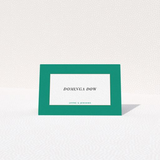 """A table place card design titled """"Big Green"""". It is an 85 x 55mm card in a landscape orientation. """"Big Green"""" is available as a folded card, with tones of green and white."""