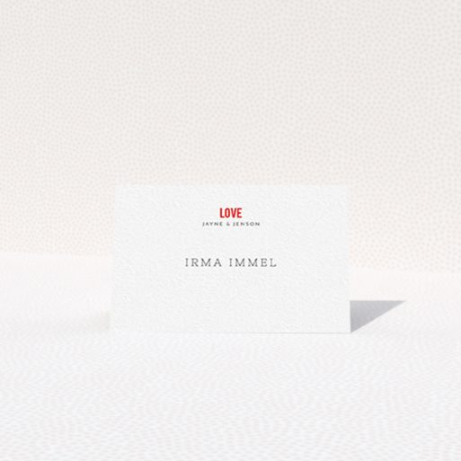 """A table place card design called """"Big Love"""". It is an 85 x 55mm card in a landscape orientation. """"Big Love"""" is available as a folded card, with tones of white and red."""