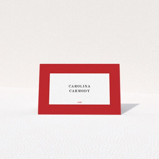 """A table place card template titled """"Big Red"""". It is an 85 x 55mm card in a landscape orientation. """"Big Red"""" is available as a folded card, with tones of red and white."""