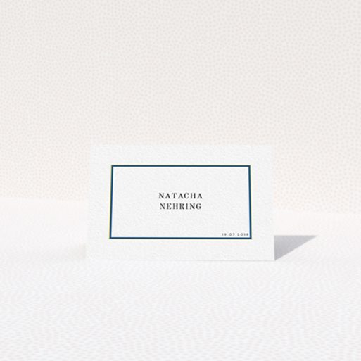 """A table place card design named """"Blue and Gold Simple"""". It is an 85 x 55mm card in a landscape orientation. """"Blue and Gold Simple"""" is available as a folded card, with tones of white and yellow."""