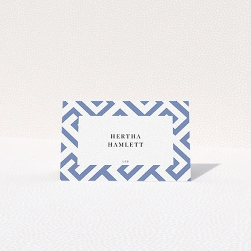 """A table place card template titled """"Blue and white maze"""". It is an 85 x 55mm card in a landscape orientation. """"Blue and white maze"""" is available as a folded card, with tones of blue and white."""