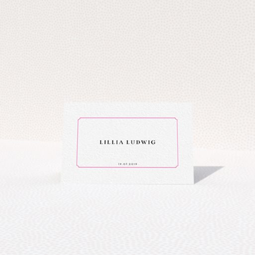 """A table place card template titled """"Bright Pink Simple"""". It is an 85 x 55mm card in a landscape orientation. """"Bright Pink Simple"""" is available as a folded card, with tones of white and pink."""