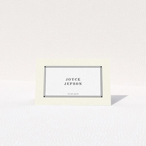 """A table place card template titled """"Deco Cream"""". It is an 85 x 55mm card in a landscape orientation. """"Deco Cream"""" is available as a folded card, with mainly cream colouring."""