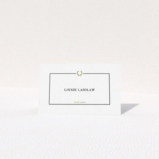 """A table place card design named """"Greco Border"""". It is an 85 x 55mm card in a landscape orientation. """"Greco Border"""" is available as a folded card, with tones of gold and white."""